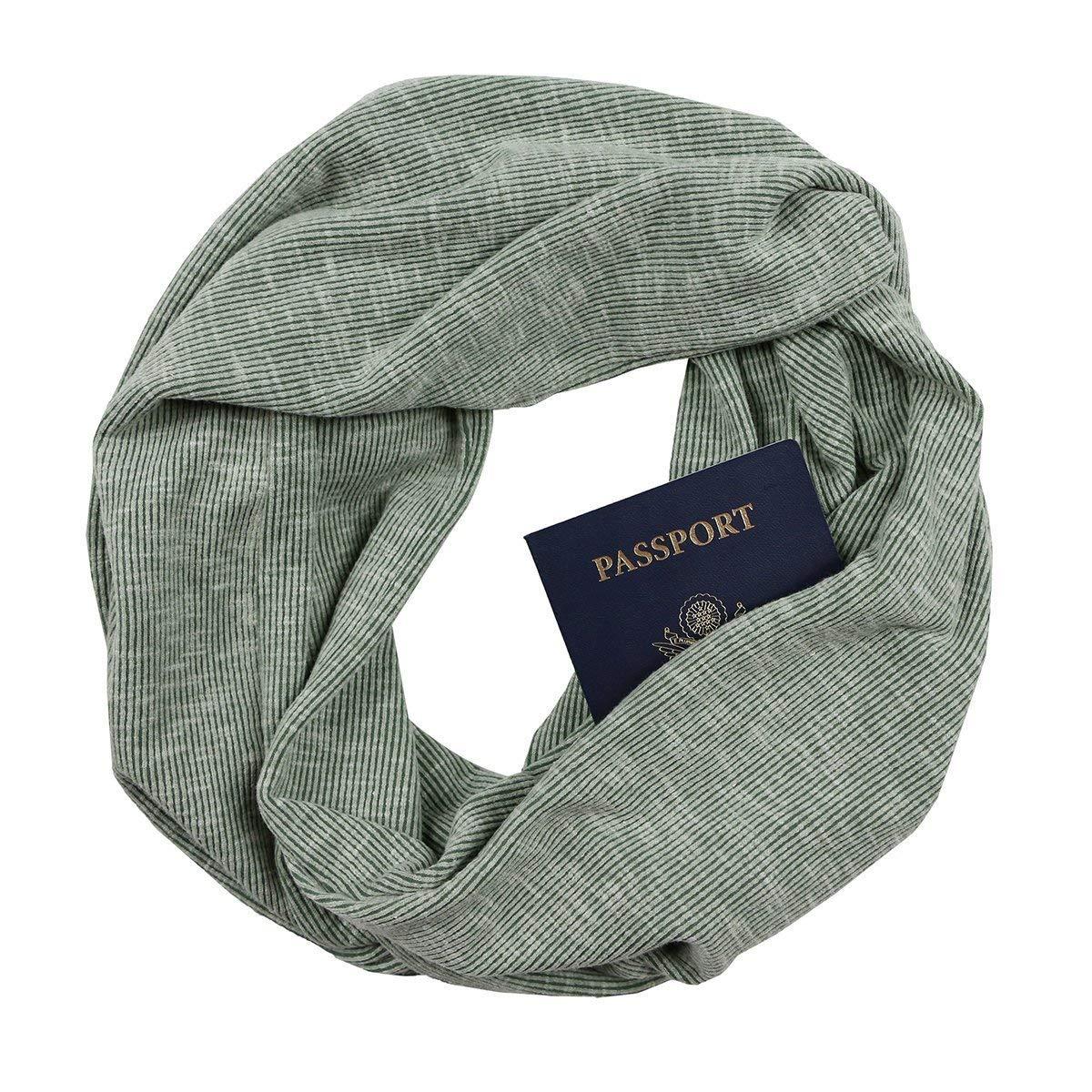 Olive Rib Knit Infinity Scarf with Zippered Secret Pocket