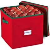 Durable Non-Woven Christmas Ornament Storage Box with Removable lid, Stores up-to 64 Standard Holiday Ornaments & Xmas Decora