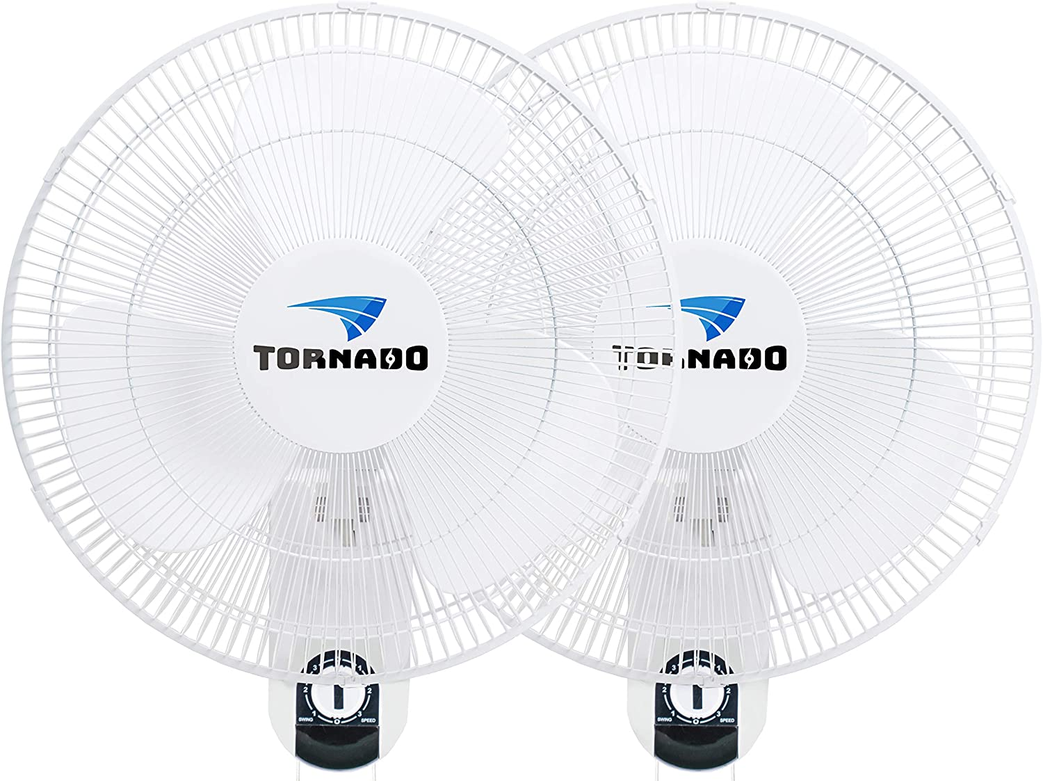 2 Pack - Tornado - 16 Inch Classic Wall Mount Fan - 3 Speed Settings - 3 Oscillating Settings - 65 Inches Power Cord - ETL Safety Listed