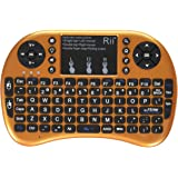 Rii i8+ Mini Wireless 2.4G Backlight Touchpad Keyboard with Mouse for PC/Mac/Android, Gold (MWK08+)