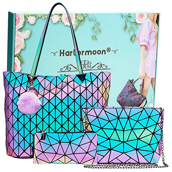 Amazon.com: Geométrica Holographic Monederos Luminoso Bolsos ...