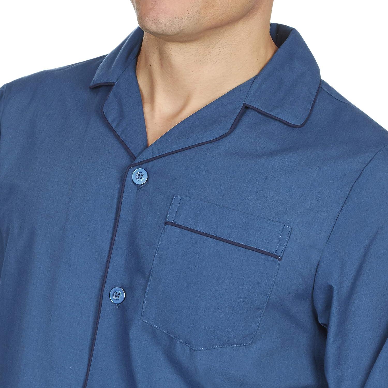 da uomo POLI pigiama di cotone Set tradizionale taglio classico tinta unita