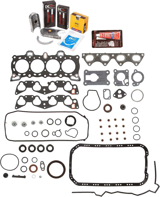 Evergreen Engine Rering Kit FSBRR4026\2\0\0 Fits 88-91 Honda CRX Civic 1.6 SOHC D16A6 Full Gasket Set Standard Size Main Rod Bearings 0.020 Oversize Piston Rings 0.50mm