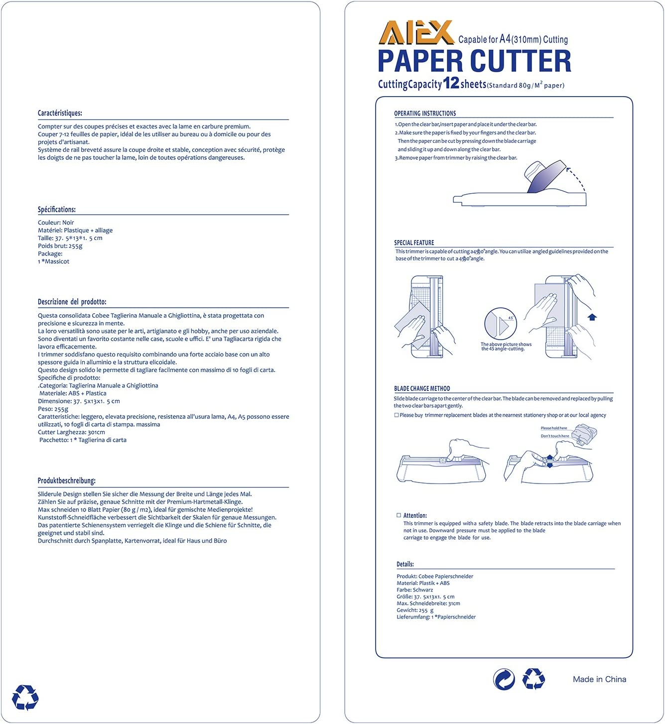 Leichter und kompakter Rollenschneider einfach zu bedienen com-four/® Papierschneideger/ät Schneidemaschine f/ür Papier und Fotos mit Fingerschutz