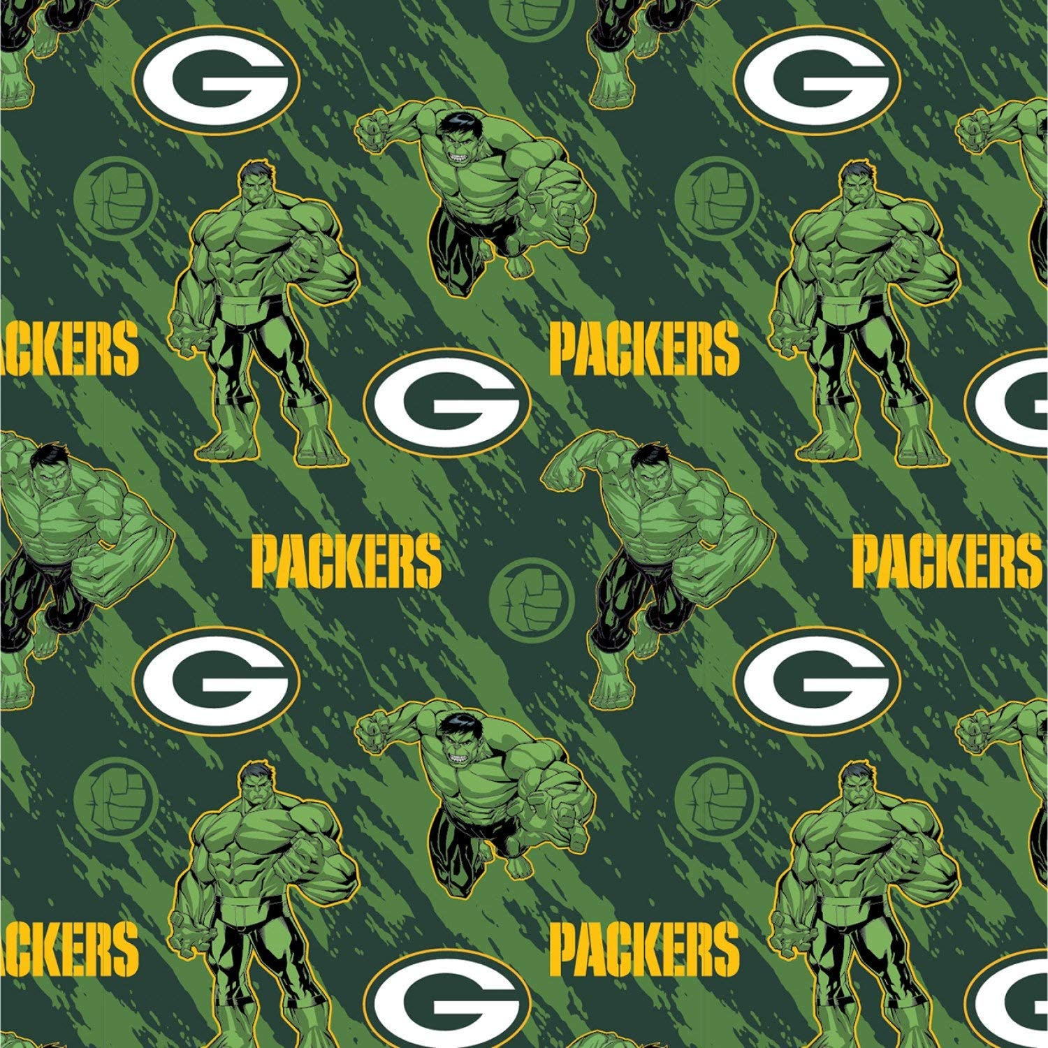 Amazon Com Nfl Marvel Mash Up Fabric Hulk Green Bay Packers Fabric Nfl Football In Green 44 Wide 100 Cotton Fabric By The Yard