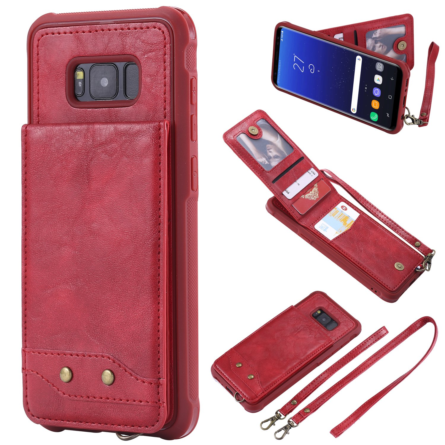 DAMONDY Galaxy S8 Plus Case, Luxury Wallet Purse Card Holders Design Cover Soft Shockproof Bumper Flip Leather Kickstand Magnetic Clasp With Wrist Strap Case for Samsung Galaxy S8 Plus-red