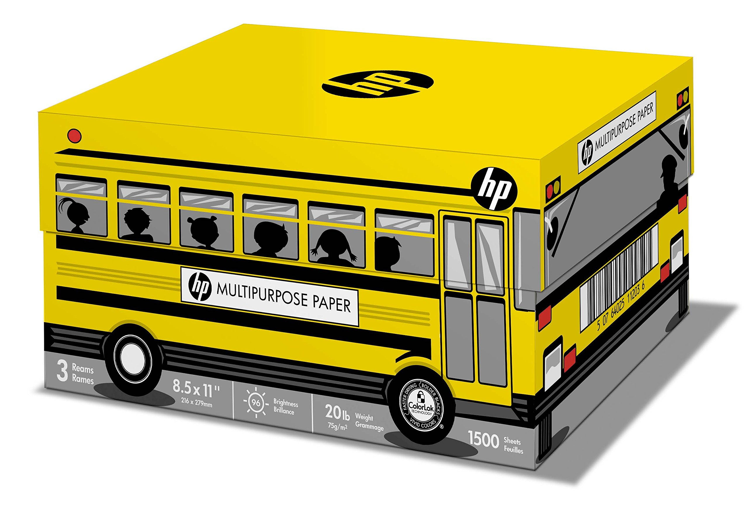 HP Printer Paper, Multipurpose20 School Bus, 8.5 x 11, Letter, 20lb, 96 Bright, 1,500 Sheets / 3 Ream Carton (112030C) Made In The USA