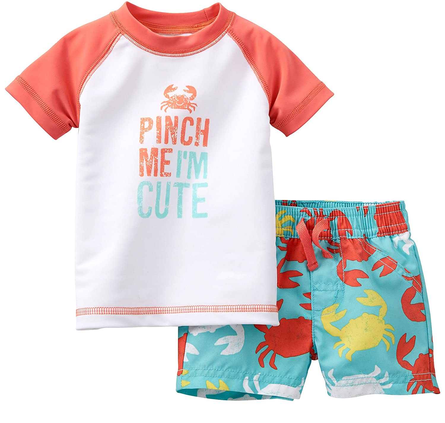 c207ba0561 Amazon.com: Carter's Baby Boys Little Surfer 2 Piece Rash Guard Top and  Swim trunk Set: Clothing