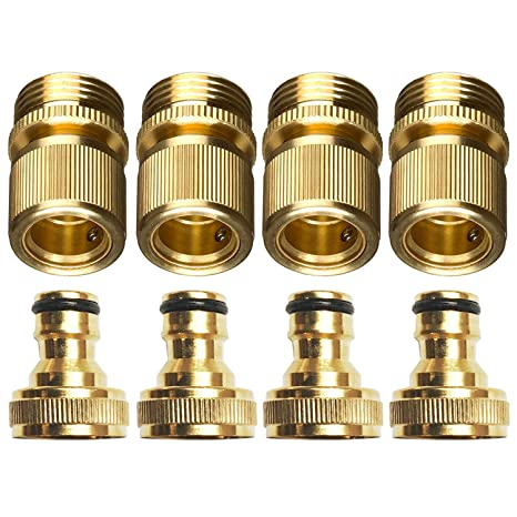 Zinger New 3/4u0026quot; Garden Hose Quick Connector Set,GHT Brass Easy Connect