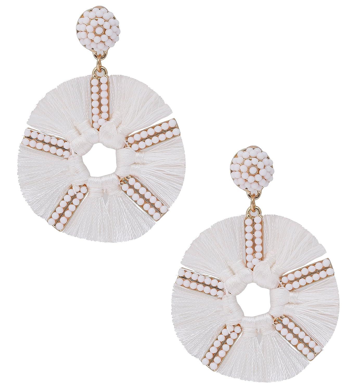 HSWE Round Tassel Earrings for Women Short Fringe Earrings Fabric Dangle Stud Earrings