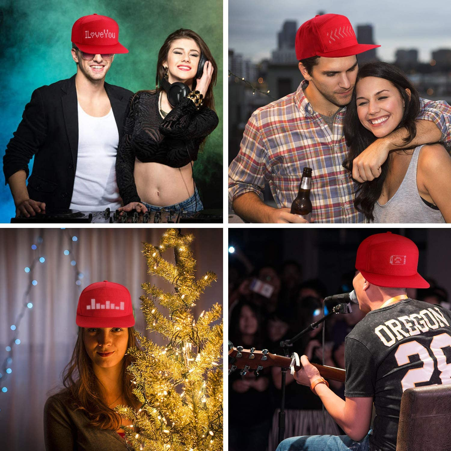 ALAVISXF LED Hats LED Display Message Caps for Christmas Party Birthday Supplies Hat Red