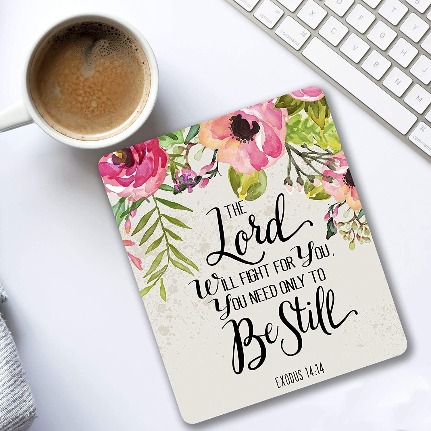The Lord will fight for you Exodus 14:14 Christian quote - Cubicle Decor Mouse pad with bible verse - Pretty office Decorate your space pink, green, gray floral design - Gifts for women