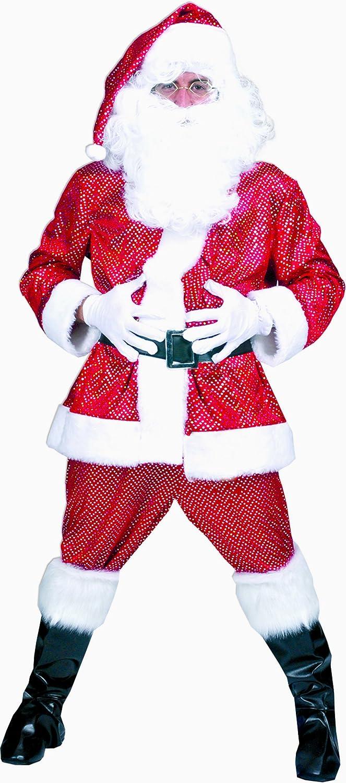 Zauberclown Herren Herren Weihnachts Kostüm Set- Plüsch- Santa Claus- Weihnachtsmann, L/XL, Rot