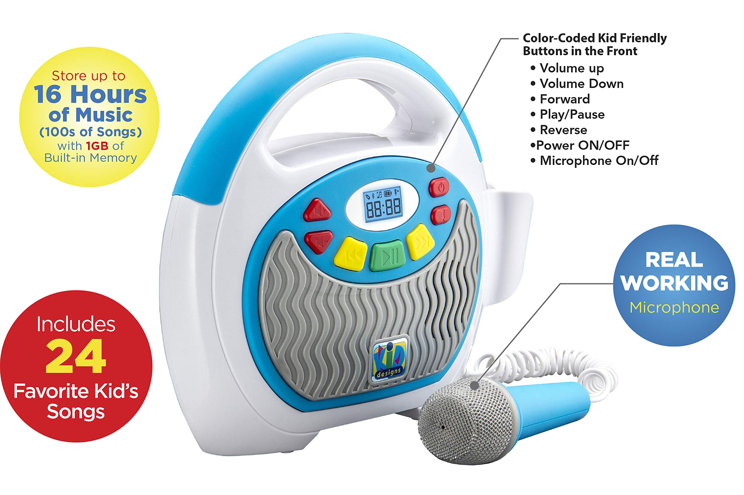 Mother Goose Club Bluetooth Sing Along Portable MP3 Player Real Mic 24 Songs Built In Stores Up To 16 Hours of Music 1 GB Built In Memory USB Port Expands Your Content Built In Rechargeable Batteries