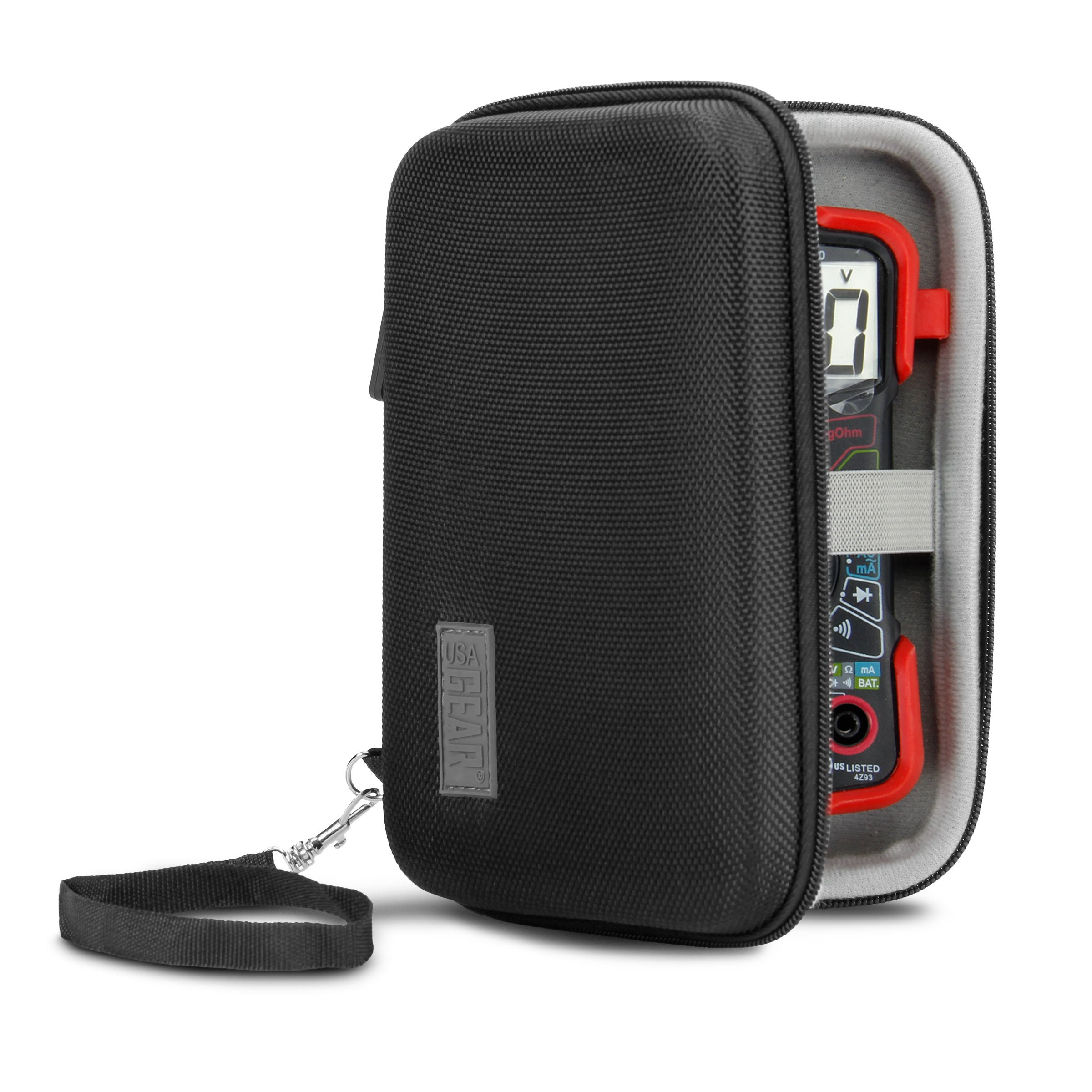 USA Gear Protective Case for Innova 3320 Digital Multimeter with Hard Shell Exterior and Wrist Strap Mesh Pocket Holds Cables, Batteries, Wire Strippers and More Electrical Testing Tools by USA Gear