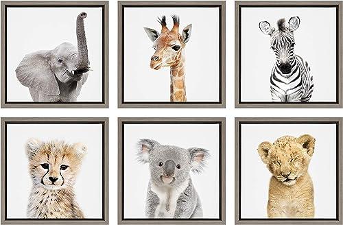 Kate and Laurel Sylvie Safari Animal Framed Canvas Art Set