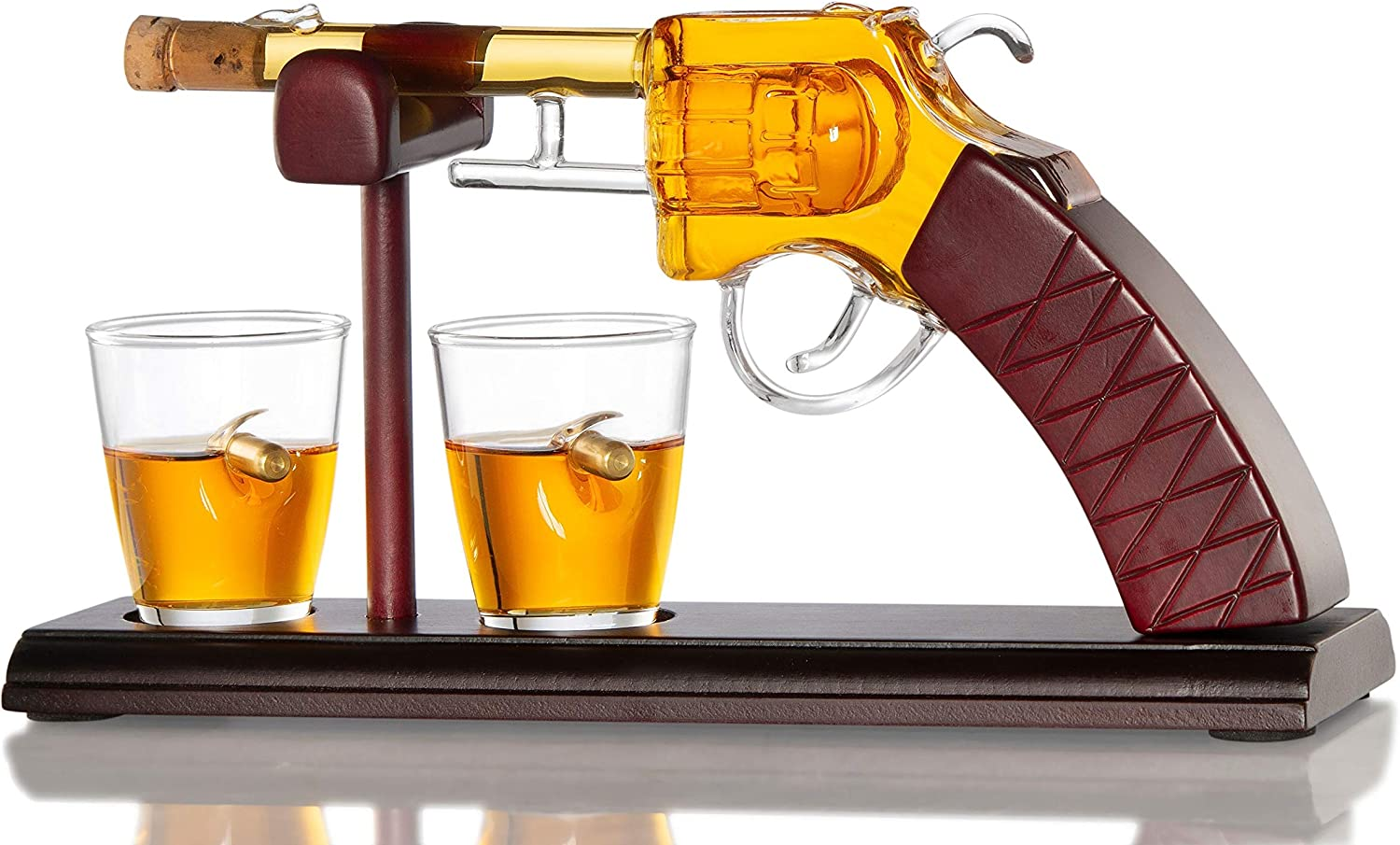 Gun Whiskey Decanter By The Diamond Glassware   Comes With A Set Of 2 Bullet Glasses & Mahogany Wooden Base   Decanter Set, Perfect For Whiskey, Bourbon, Scotch, Liquor  Great Gift For Him   100ml