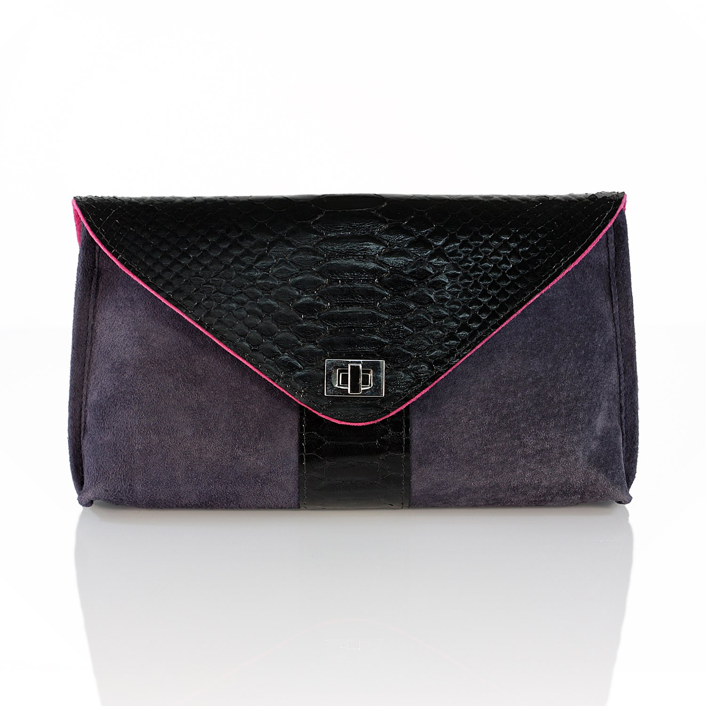 PEcado Handbags Women's D'elux Raya Clutch Genuine Python/Suede