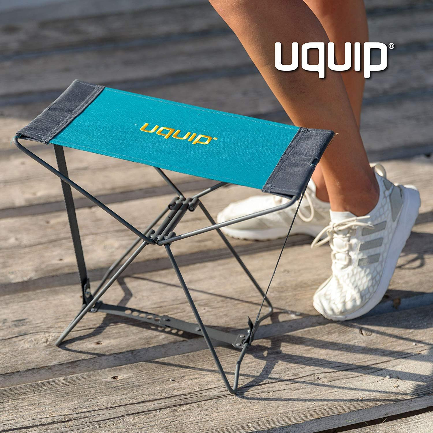 Uquip Portable Folding Stool Fancy for Camping and Sports - Petrol/Gray