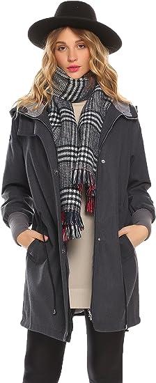 Miuniu Women Long Sleeve Plush Jacket Warm Wool Hooded Coat Down