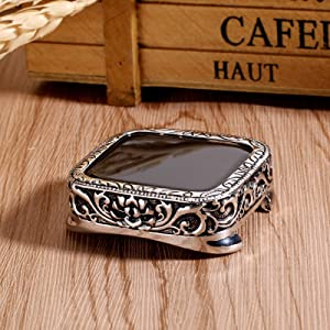 Konafei Compatible with Apple Watch 40mm 44mm Case for Series 6 5 4 SE, Vintage Carving Bumper Metal Silm Hard Protective Cover for iWatch Series SE 6 5 4 (44mm)
