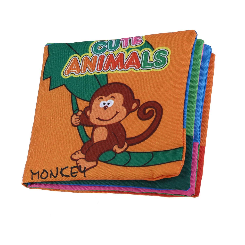 SODIAL(R) Tejido suave desarrollo del bebe Inteligencia Ninos chillona Imagen Cloth Book - Animal Kingdom