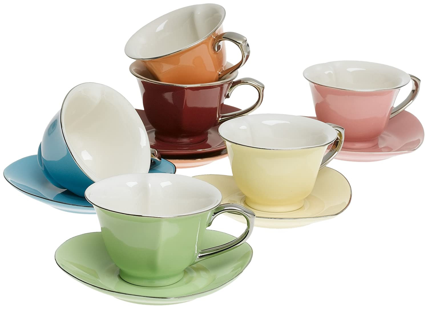 Amazon.com | Classic Coffee & Tea Inside Out Heart Cups & Saucers ...