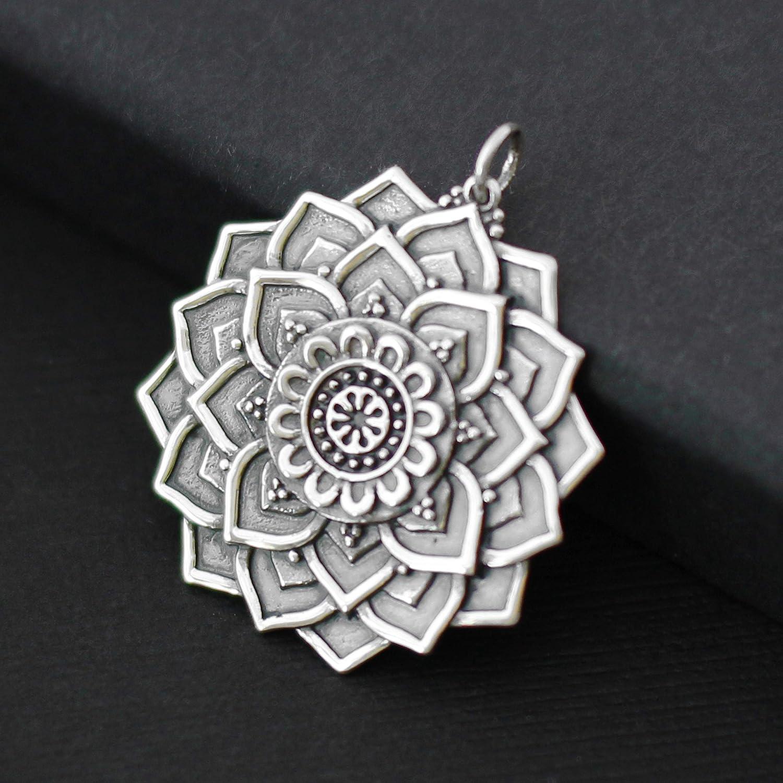 Large Sterling Silver Lotus Mandala Charms /• for Necklace Bracelet Pendant Charm /• Spiritual Gifts for Women /• Yoga Awakening Meditation Enlightenment Motivational Inspirational Jewelry Gift
