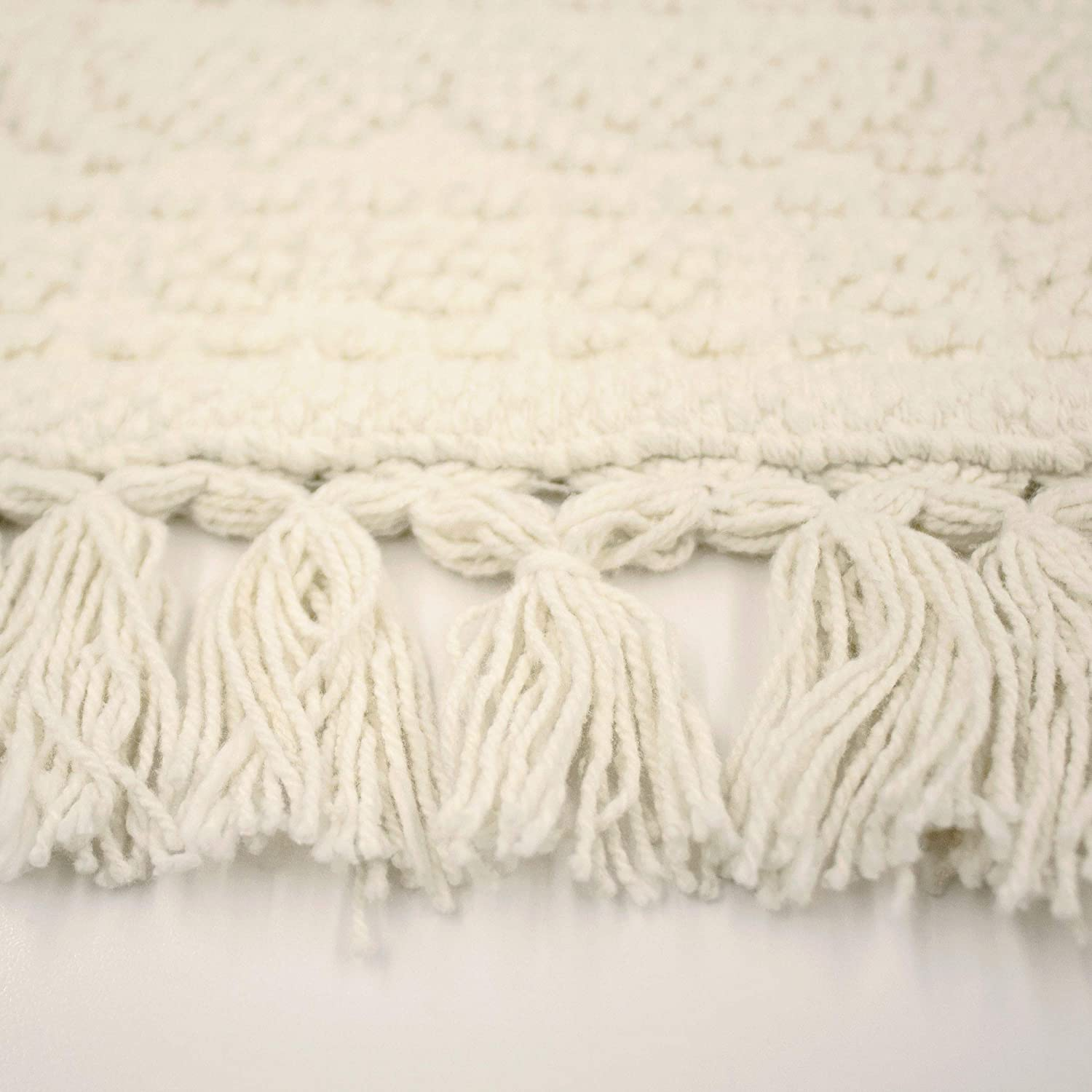 17 in in French Connection Nellore Fringe Bath Rug White x 34 in x 24 in.//20 in