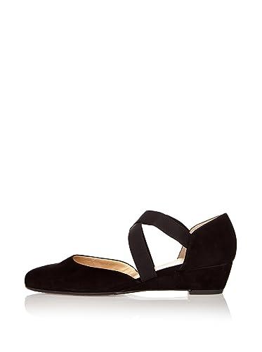 4ebfa9dc318 Peter Kaiser Jaila cross over wedge shoes in black BLACK SUED 8 ...