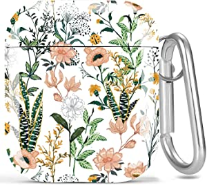 AirPods Case Flower, Olytop Cute Hard Women Apple Airpods 2 & 1 Case Cover Protective Shockproof Cover Girls with Keychain for Apple AirPods Charging Case - Flower/Cactus