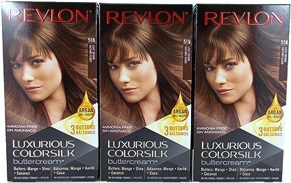 Revlon Luxurious Colorsilk Buttercream - Tinte para el pelo 51N (color castaño claro) - Paquete de 3 unidades
