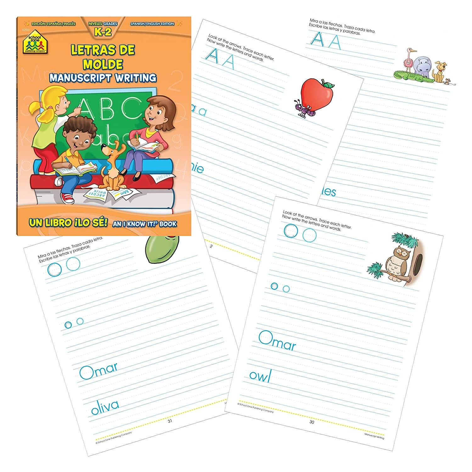 Amazon.com: School Zone Bilingual Spanish/English Flash Card Set with Bilingual Contando/Counting 1-10 Get Ready Workbook & Letras De Molde Manuscript ...