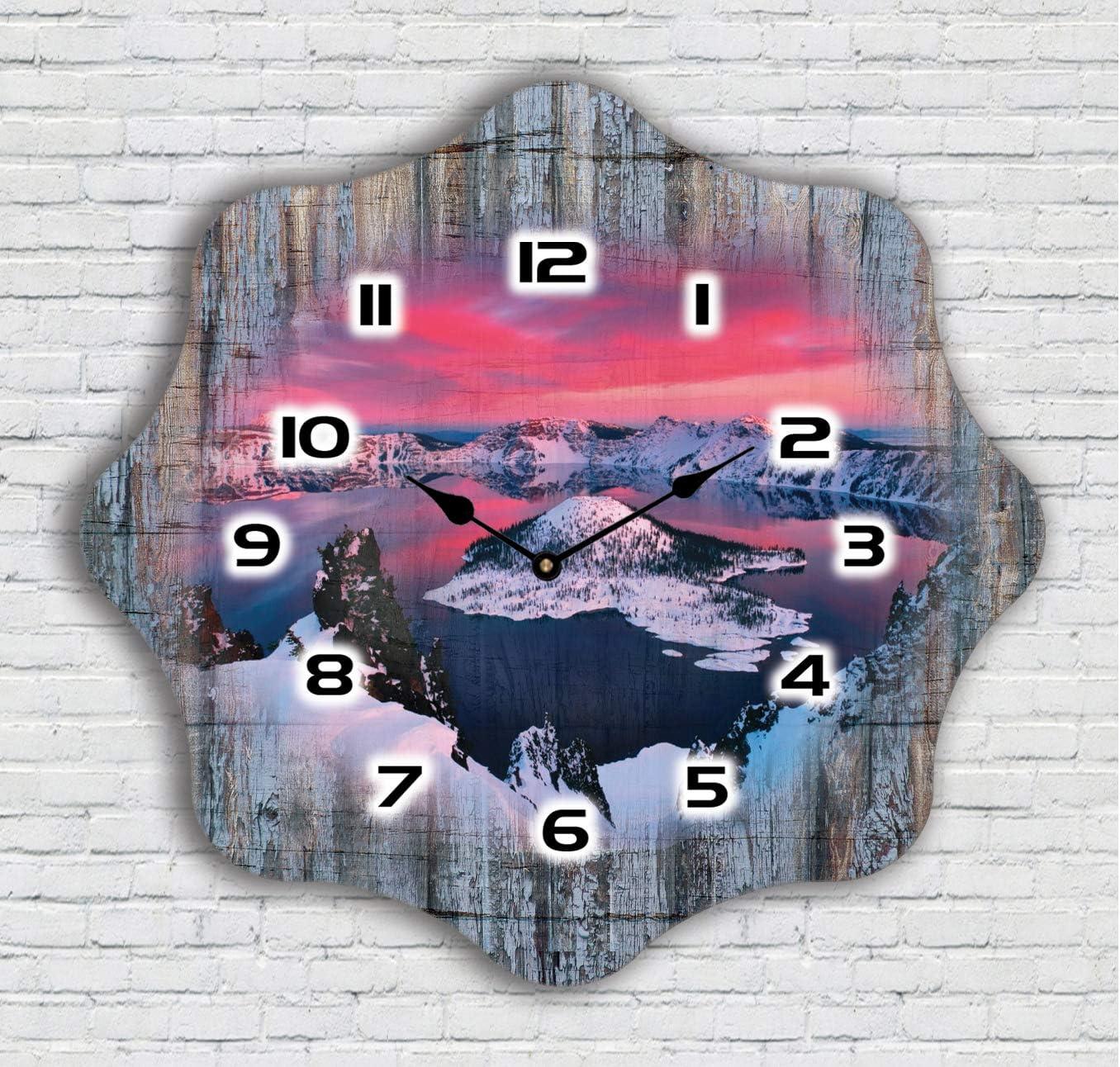 Color Agile Shabby - Reloj de pared controlado por radio de madera, diseño antiguo, silencioso, sin ruido de tic tac, diseño retro