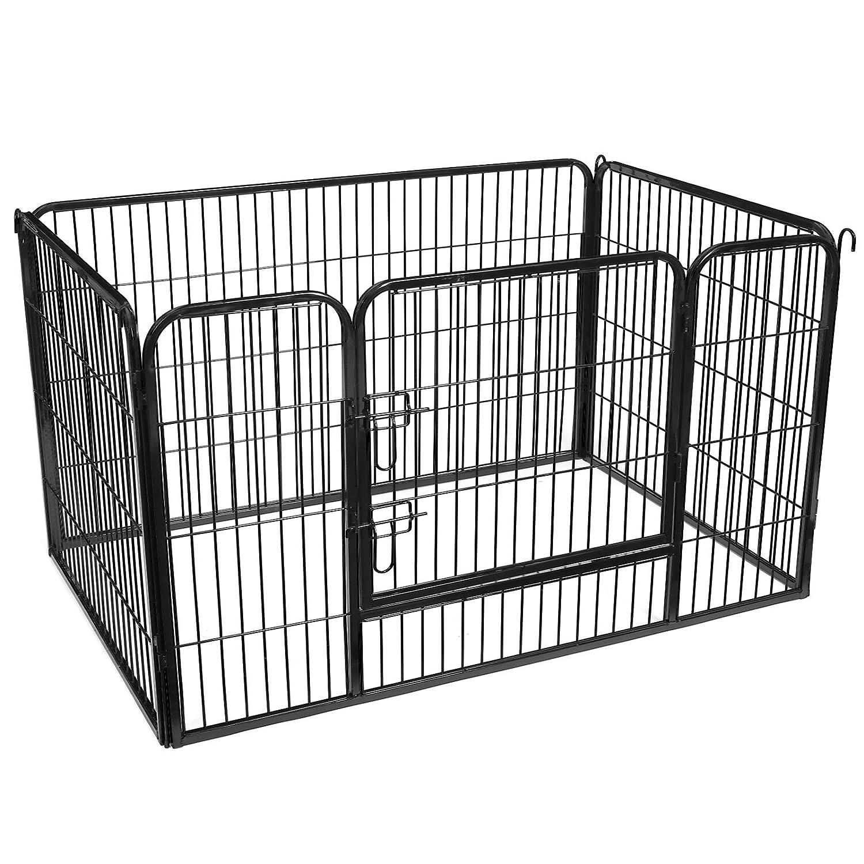 FEANDREA Puppy Playpen Dog Rabbit Enclosure Pet Exercise Pen Panels Black PPK04BK