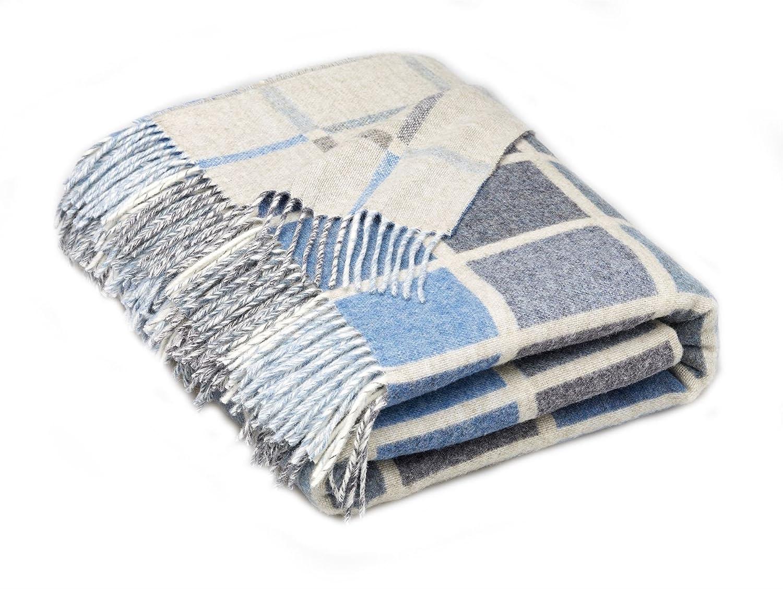 Bronte by Moon Luxury Merino Lammwoll-Decke Überwurf – Multiblock – Aqua Blau Hergestellt In Großbritannien von