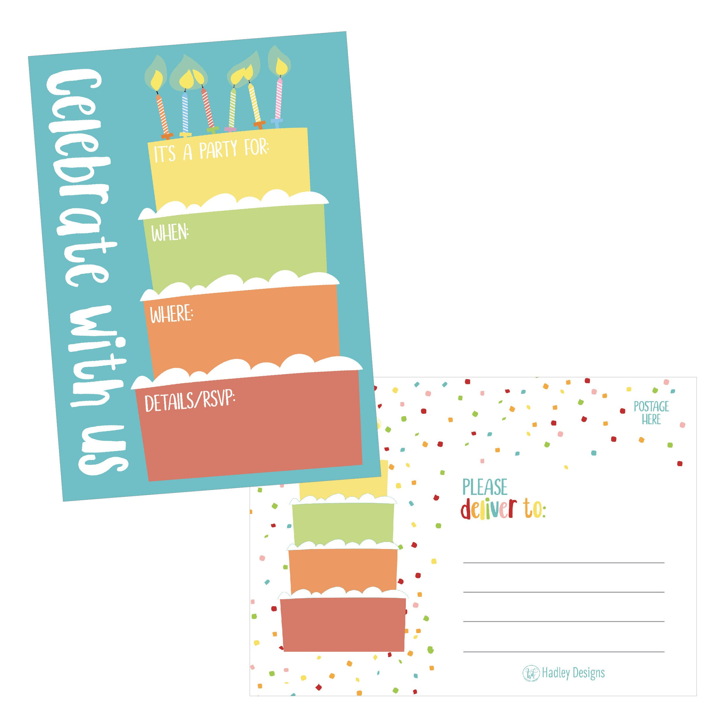25 Cake Rainbow Party Invitations for Kids, Teens, Adults, Boys & Girls, Blank Children Happy 1st Birthday Invitation Cards, Unique Baby First Bday Invites, Toddler 1 2 3 Year Old rsvp Invites Fill In