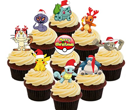 Pokemon Christmas Party Pack Edible Cupcake Toppers Stand Up Wafer Cake Decorations