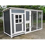 """ChickenCoopOutlet 78"""" Light Weight Wood Frame Chicken Coop With Plastic Inserts Backyard Hen House 2-4 Chickens Nesting Box & Run"""