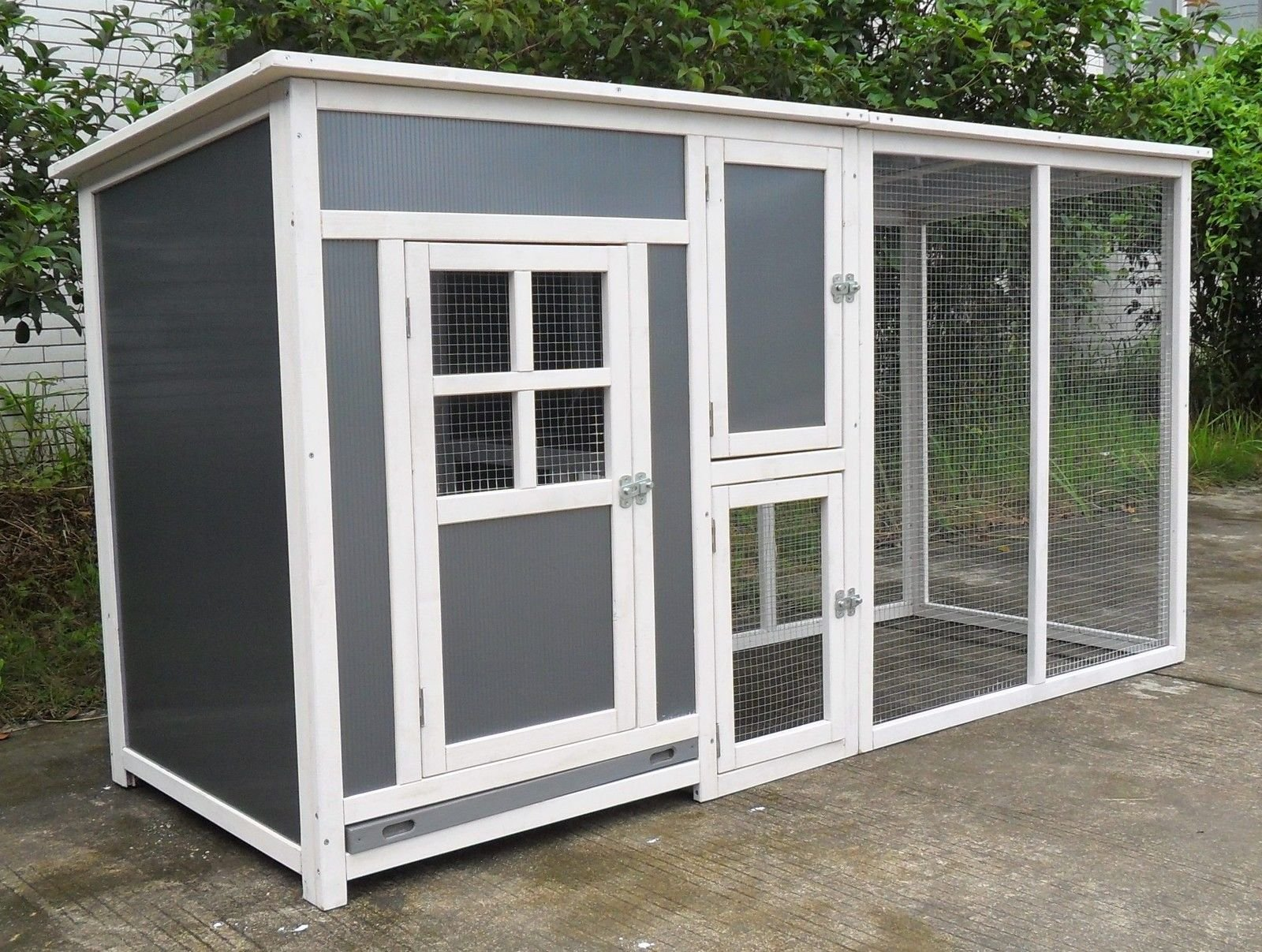 ChickenCoopOutlet 78'' Light Weight Wood Frame Chicken Coop With Plastic Inserts Backyard Hen House 2-4 Chickens Nesting Box & Run by ChickenCoopOutlet