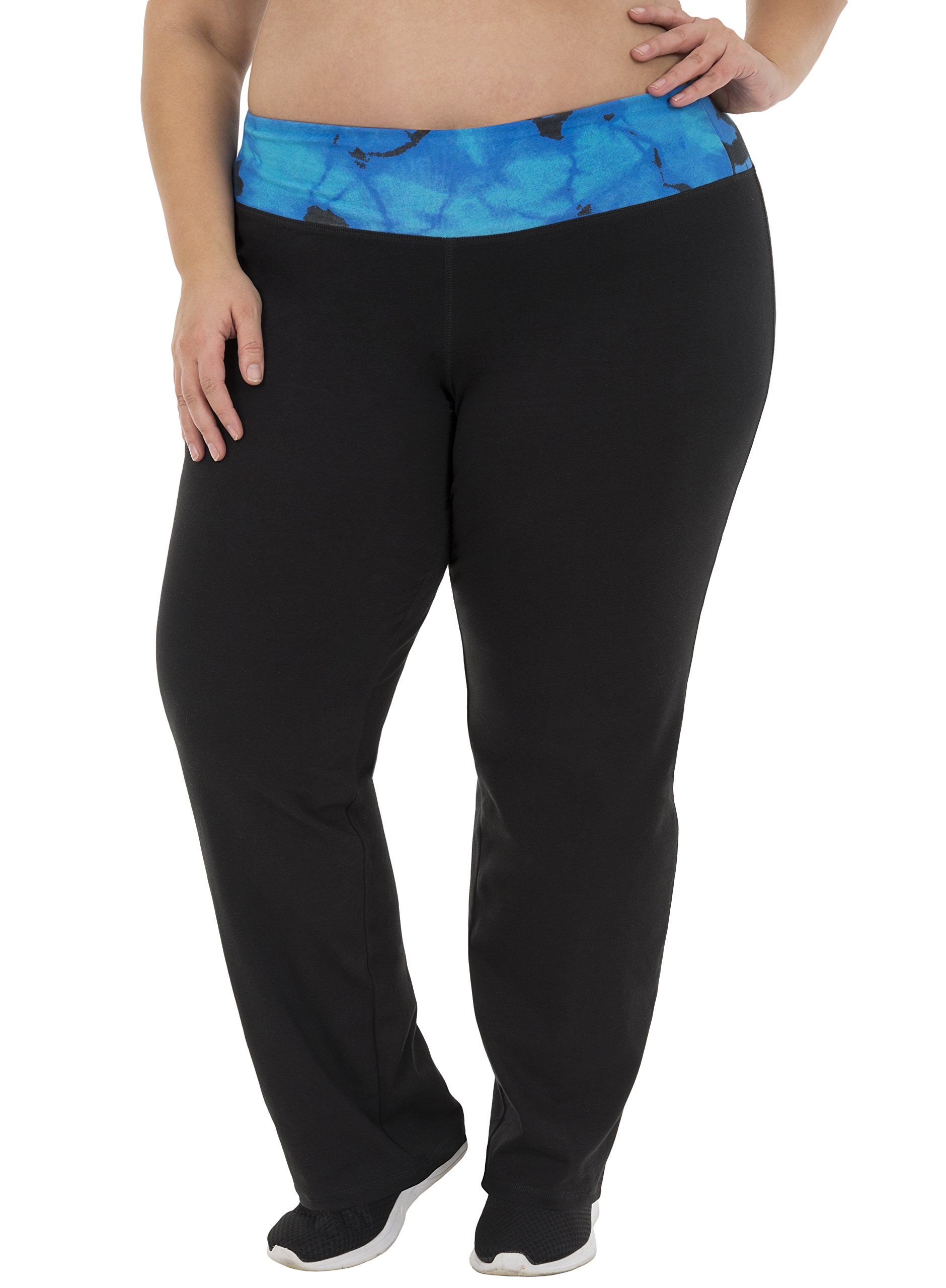 Fit for Me by Fruit of the Loom Women's Plus Size Relaxed Fit Yoga Pant, Black/Dusky Teal Cloud, 3X
