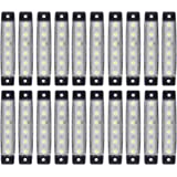 (Pack of 20) LEDVillage 20 Pcs 3.8' 6 LED White Side Marker Lights, Trailer Marker Lights, Rear Side Marker Lamp, Led…