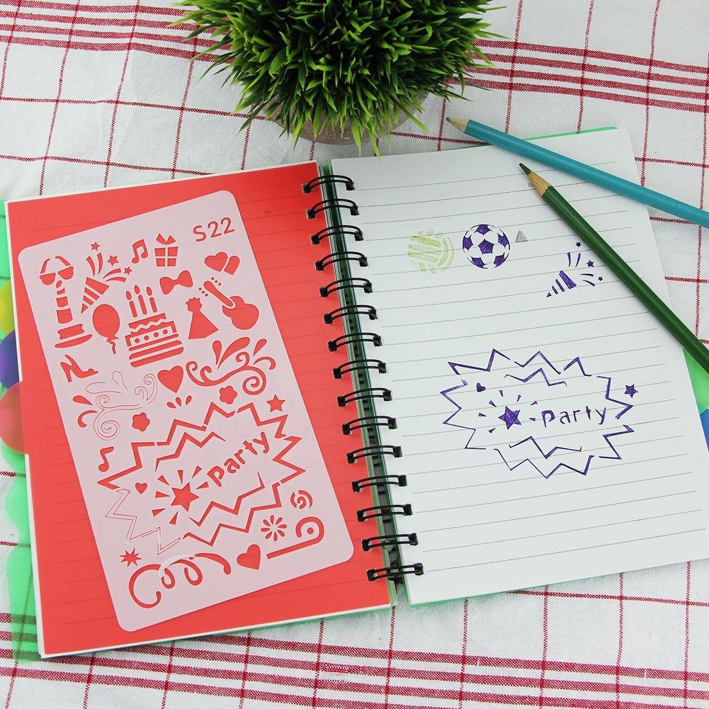 BUZIFU Bullet Journal Stencil 24 Pezzi Stencil per Diario//Cartoline Fai da Te e Progetti Artistici Trasparente 17.8 * 10.2cm