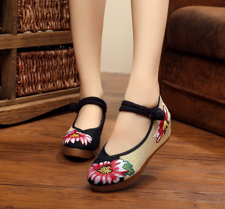 Fuxitoggo Fuxitoggo Fuxitoggo Bestickte Schuhe Leinen Sehnensohle Ethno-Stil Erhöhte Damenschuhe Mode bequem lässig schwarz 40 (Farbe   - Größe   -) 8cffad
