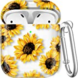 Maxjoy Compatible AirPods Case Cover, Floral Case Cute Hard Protective Case Shockproof Cover with Keychain Compatible with Ap