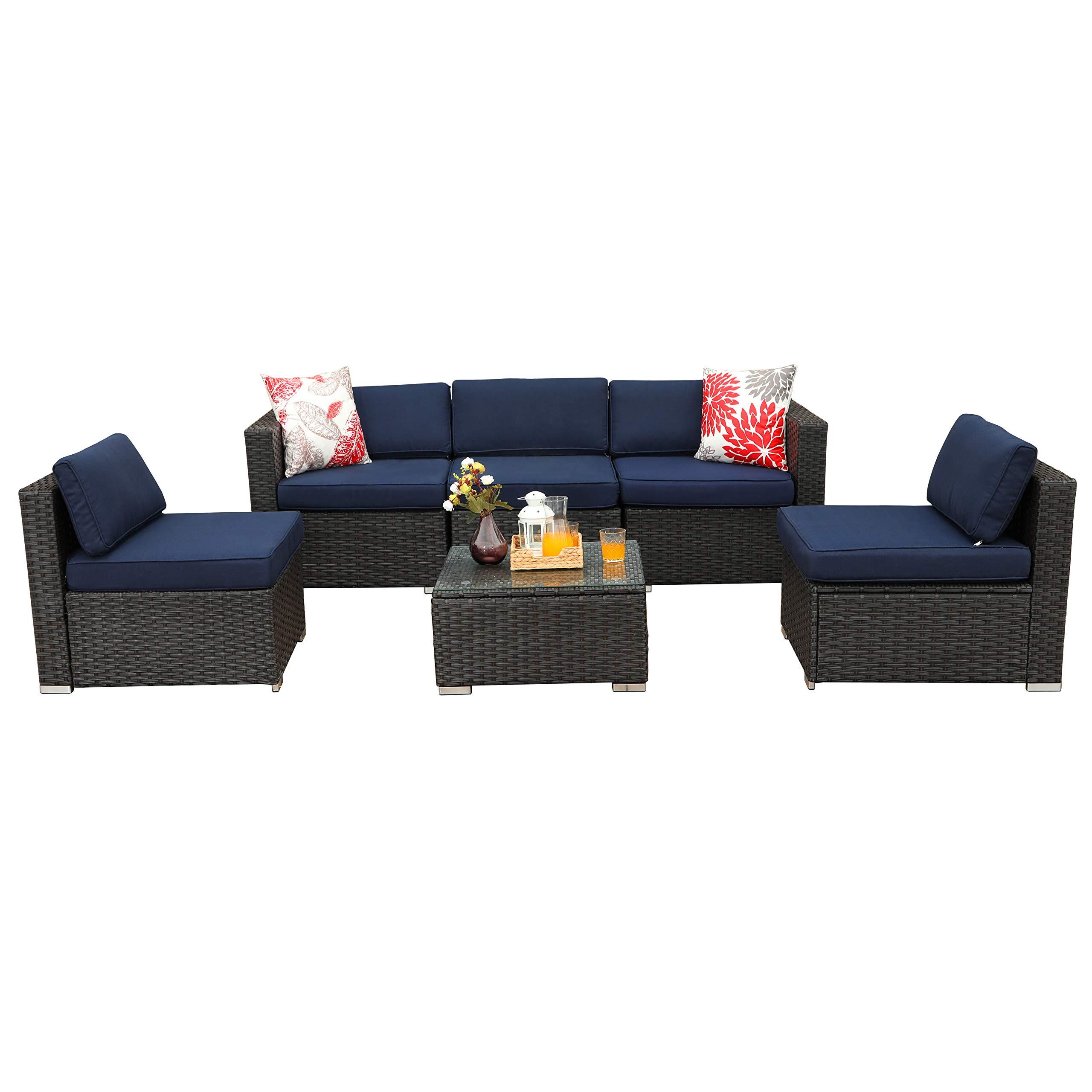 PHI VILLA 6-Piece Outdoor Sectional Sofa Rattan Patio Furniture Set Conversation Set with Tea Table, Blue by PHI VILLA