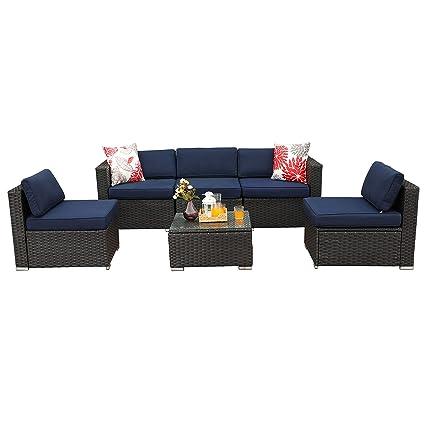 PHI VILLA 6-Piece Outdoor Sectional Sofa Rattan Patio Furniture Set  Conversation Set with Tea Table, Blue