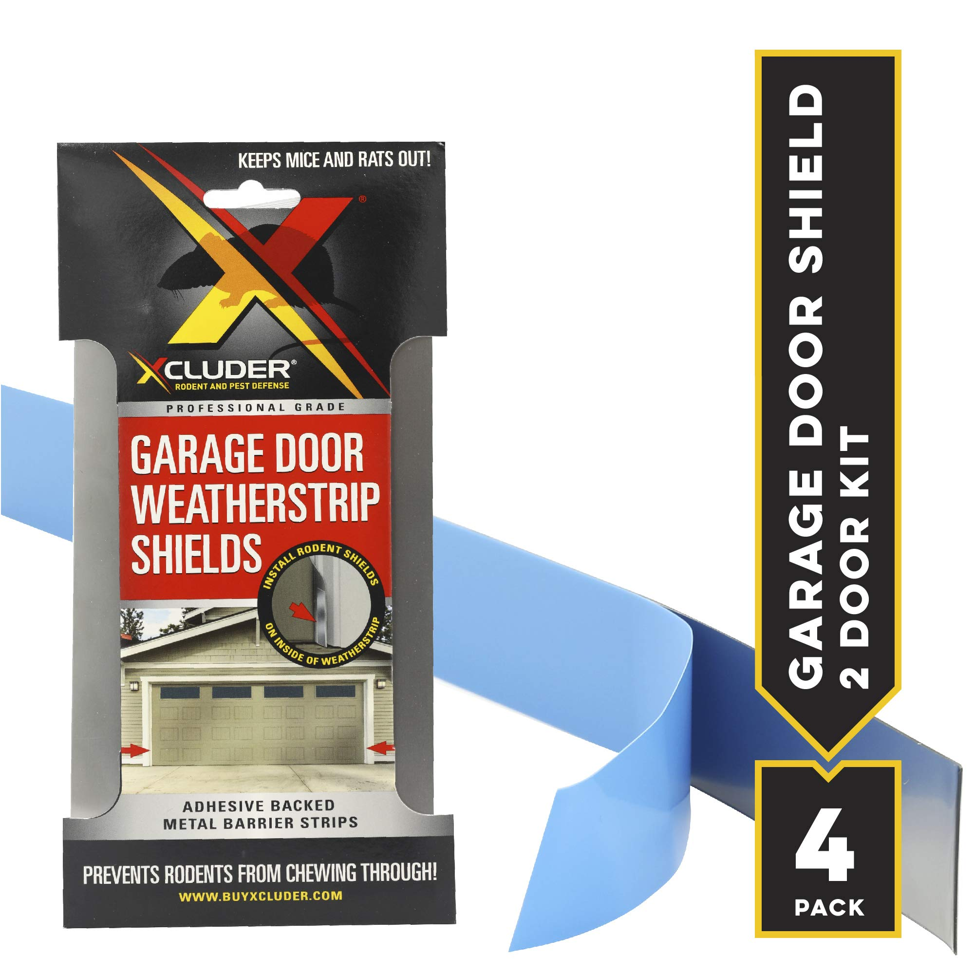 XCLUDER 162942 Garage Door Rodent Shield, Stainless Steel, 2 Door Kit (Pack of 4) by Xcluder