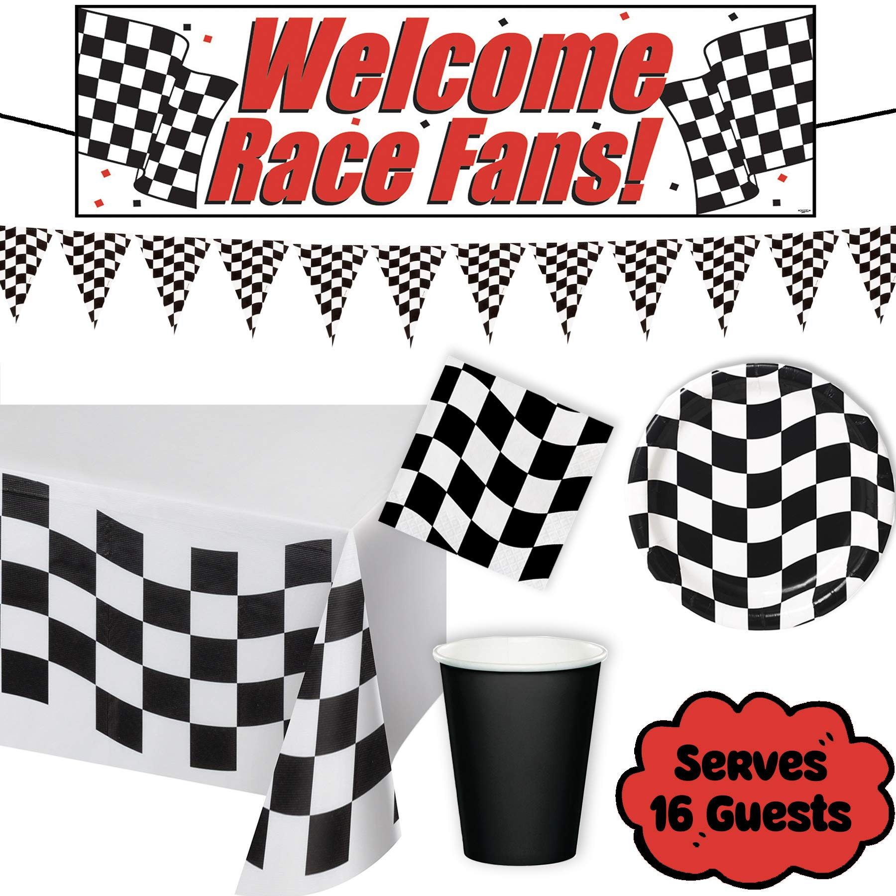 Luci Ray - Checkered Race Car Party Supplies Birthday Decorations Set for 16 GUESTS - plastic tablecloth, race banner, checkered pennant banner, plates, napkins, black cups