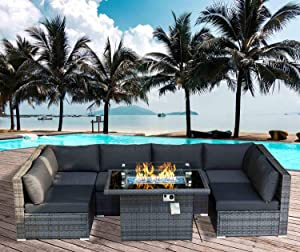 NICESOUL 118.7''L PE Rattan Patio Furniture Sectional Sofa Sets with Cushions Outdoor Wicker Conversation Sets with Fire Pit Table CSA Approved